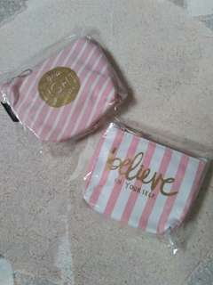 Pink / White Canvas Coin Purse / pouch