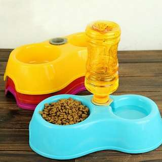 Tableware Dog Feeder Food Bowl Pet Colorful Cat Double Dishes Plastic Automatic Water Drinking