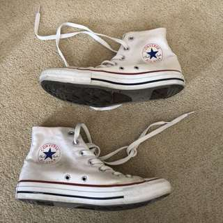 white converse high tops size 8