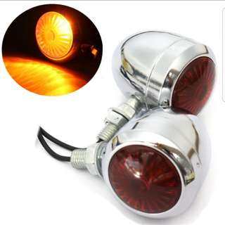 2 X Metal Chrome Motorcycle Turn Signal / Blinker / Indicator For Harley / Cafe Racer / Scooter / Vintage