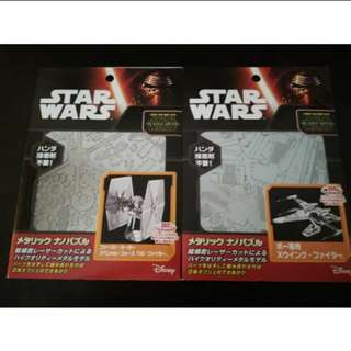 Star Wars Tenyo Metallic Model Kit X Wing Fighter and TIE Fighter
