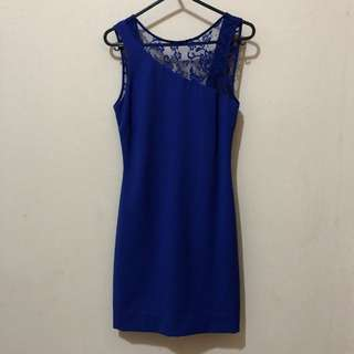 Zara blue lace backless dress