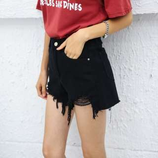 Black And White High Waist Ripped Jeans Shorts