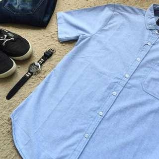 White Blue Plaid Basic Shirt