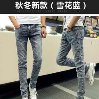 冬季修身韩版牛仔裤男士雪花小脚加绒加厚
