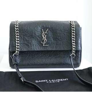 YSL medium West Hollywood bag in black crocodile embossed leather