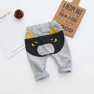 Cute Cartoon Long Pants - Dark Grey