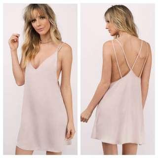 NEW Tobi Blush Satin Slip Dress with strappy back detail