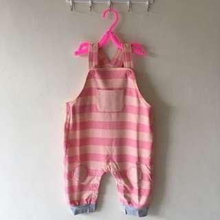 🚚 全新粉色條紋吊帶褲