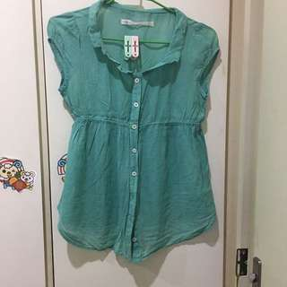 a la sha 淺綠底圓點短袖襯衫S號