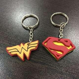 Polymer Clay Keychain (Superman Wonder Woman)