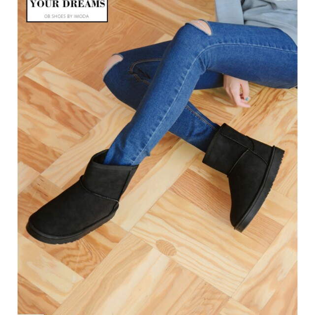 內絨毛雪靴(黑37)