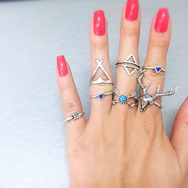 7 piece Boho vintage reindeer blue turquoise Bohemian ring set
