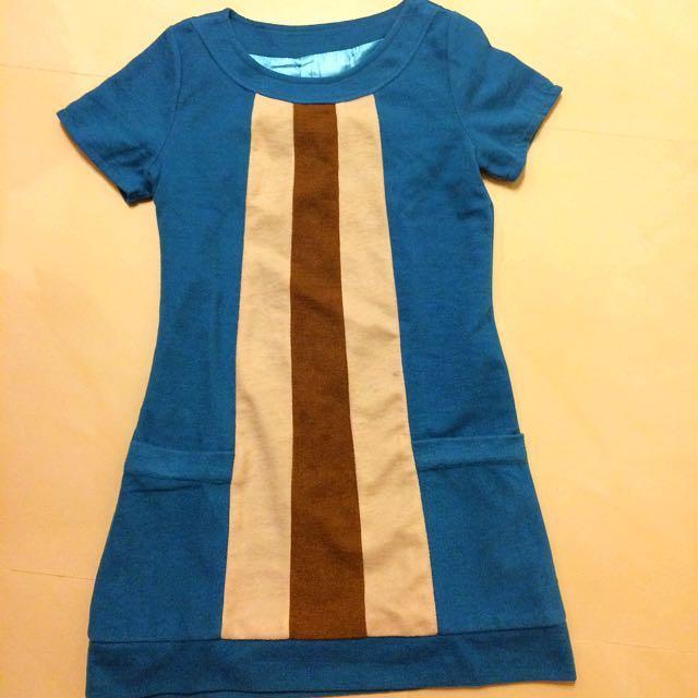 土耳其藍毛料短袖洋裝