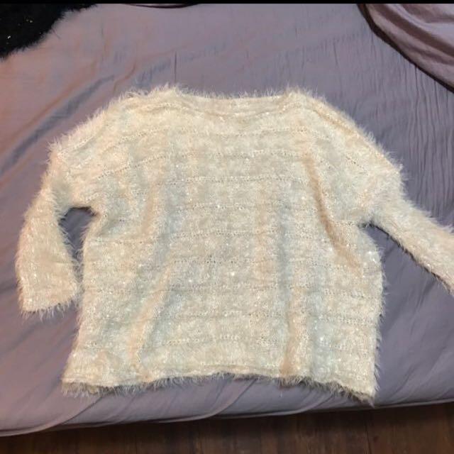 短版海馬毛亮片毛衣上衣