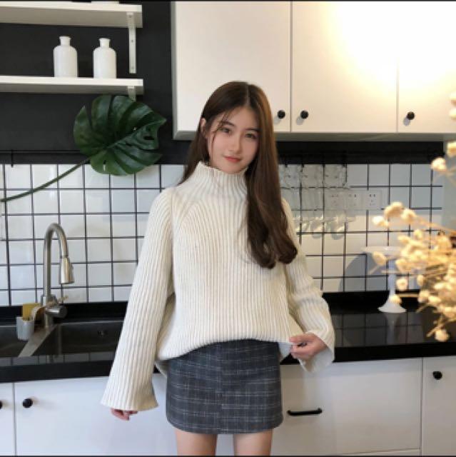 韓版高領白色毛衣