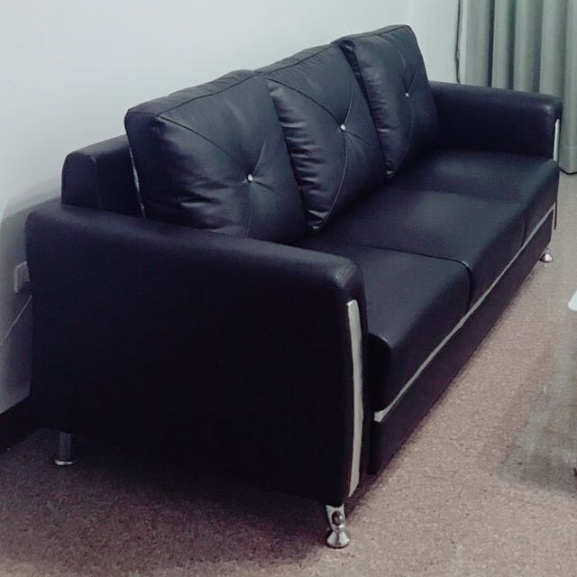 黑色三人座 沙發