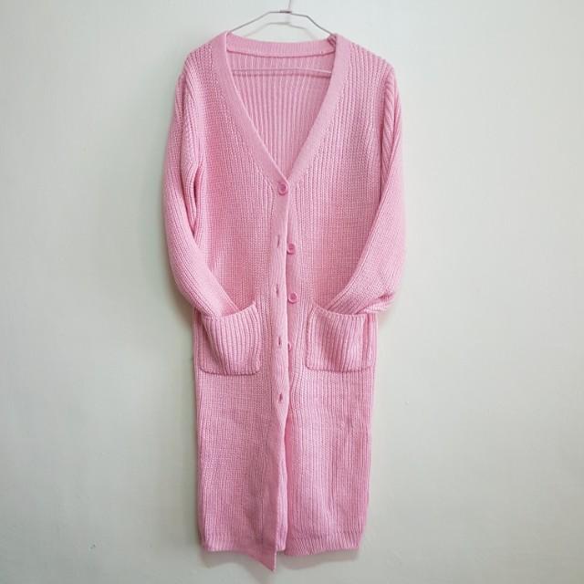 全新針織毛衣外套 粉