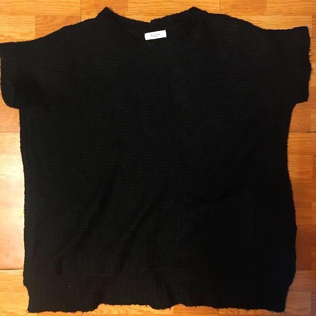 黑色 針織毛衣 罩衫