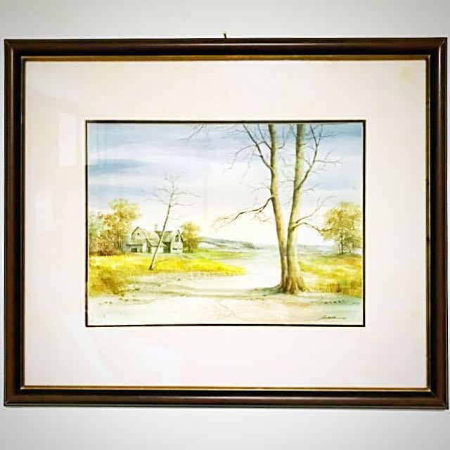 (非印刷品)風景畫 - 自然風景樹木林間房屋