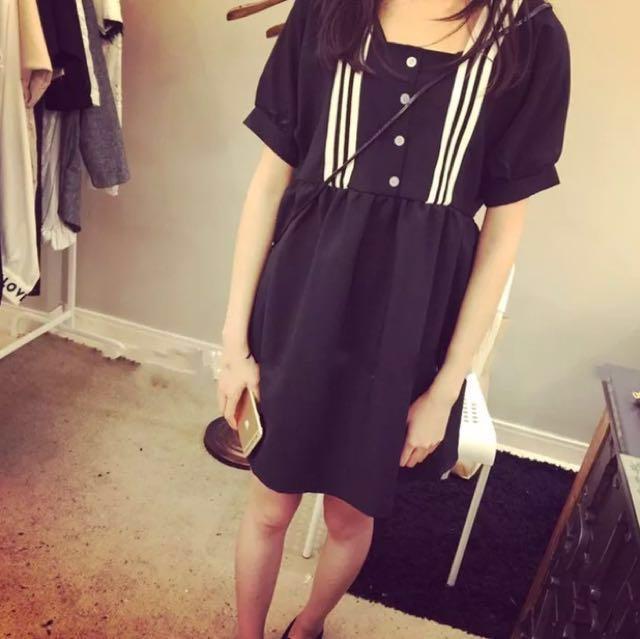日系 復古 學院風 制服 洋裝