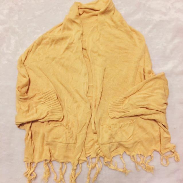 杏色 針織 罩衫 流蘇 披肩