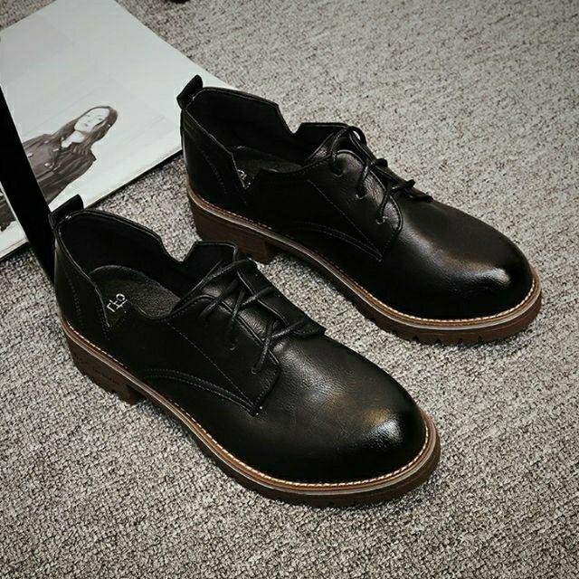 💰零碼出清 學生鞋英倫學院皮鞋 側V口休閒鞋 黑皮鞋 現貨