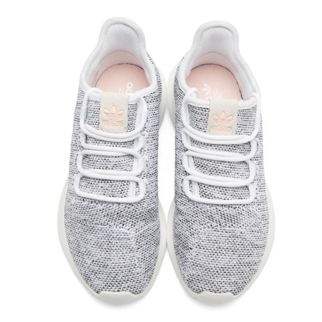 White Knit Tubular Shadow Sneakers