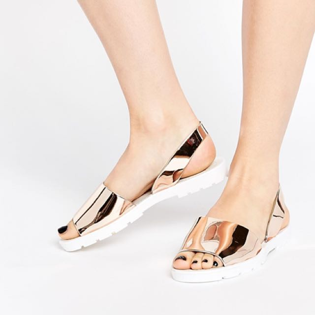 f39b9dfa3b Asos Frenchy Jelly Sandals in Rose Gold, Women's Fashion, Shoes on Carousell