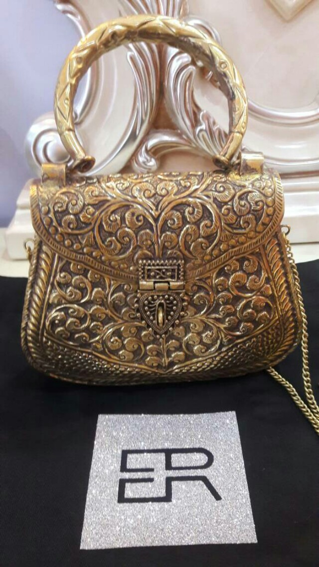 aebb32f6f86b9 Authentic Embossed Handmade Gold Metal Clutch - Evening Tote Bag ...