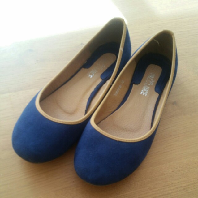 Blue suede leather flats - worn once - as new