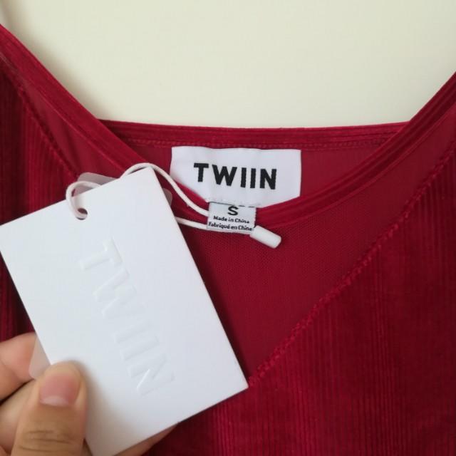 BNWT Twiin velvet slip dress