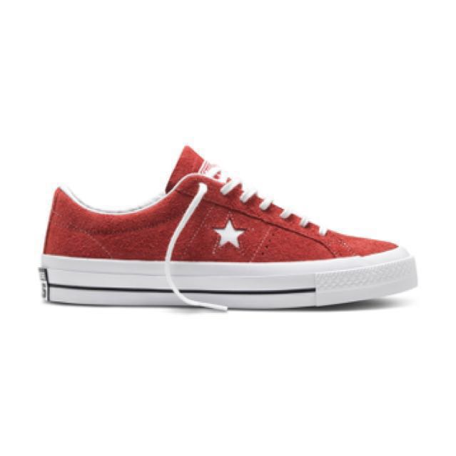 3883e5738f9393 Converse One Star Red Hairy Suede
