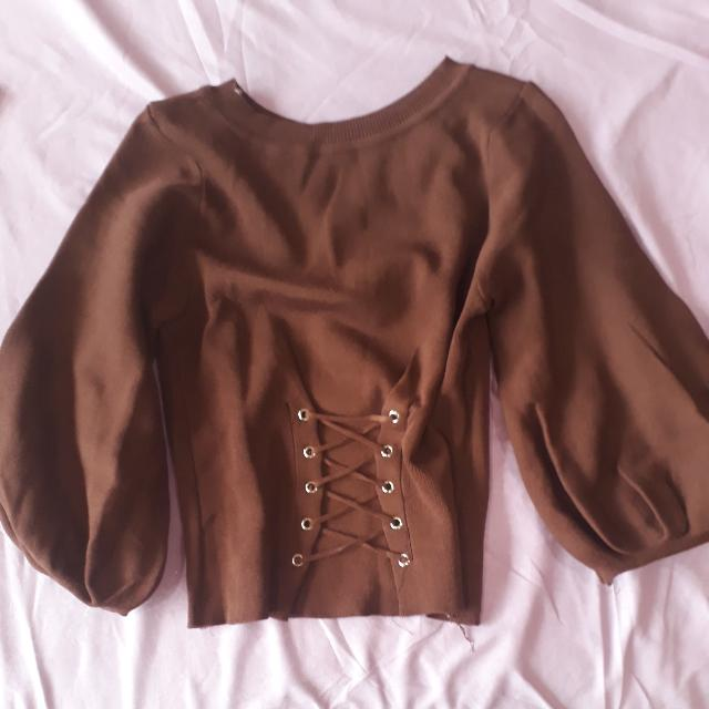 CORSET SWEATER WITH BALLOON SLEEVES