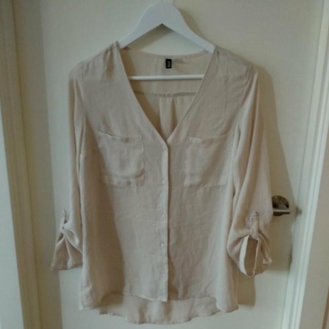 Cream collarless shirt