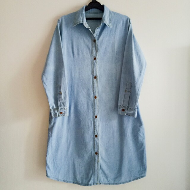 BANGKOK DENIM JEANS DRESS TUNIC , ADA KANTONG KANAN KIRI