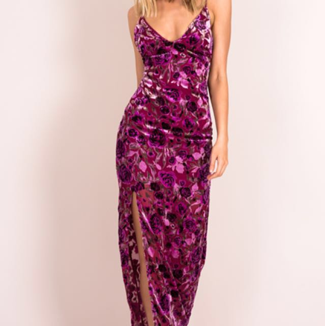 Dissh Boutique Shooting Star Flocked Maxi Dress in Pink Floral