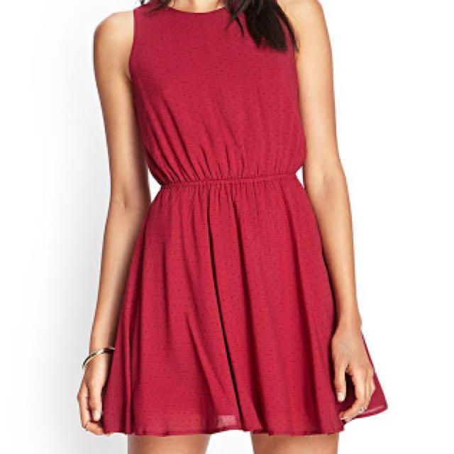 F21 Red dress (w small polka dots)