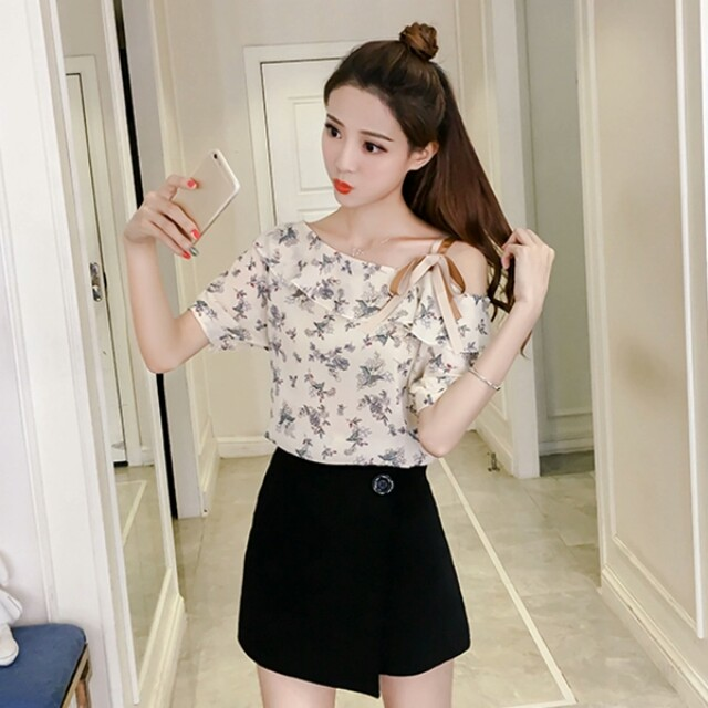 Floral Blouse with ribbon on one-shoulder