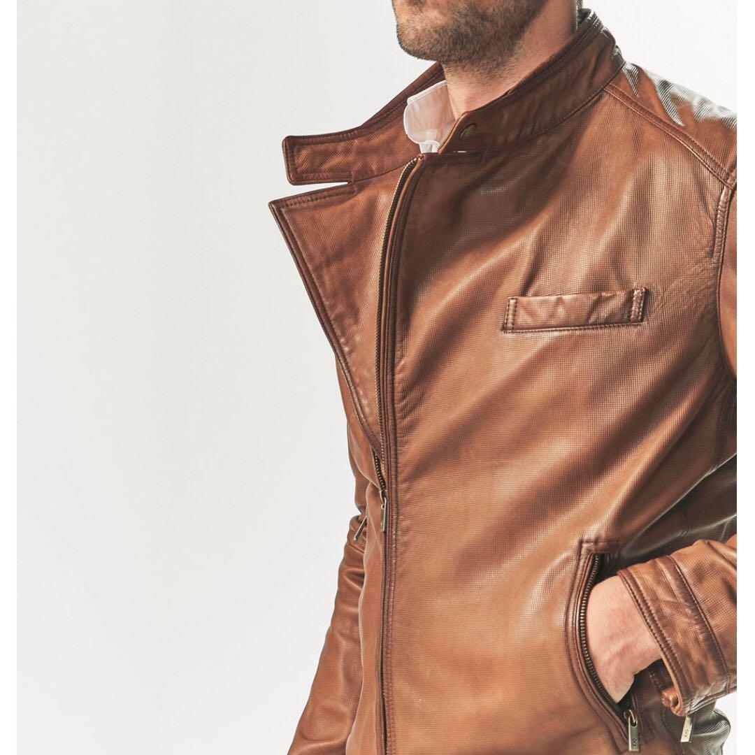 0c2f0a17c4 Genuine Leather Jacket Brand New Men Massimo Dutti Brown