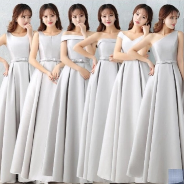 Gray and Pink Satin Bridesmaids Dresses