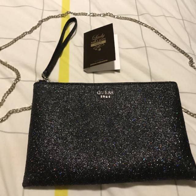Guess sparkle clutch bag