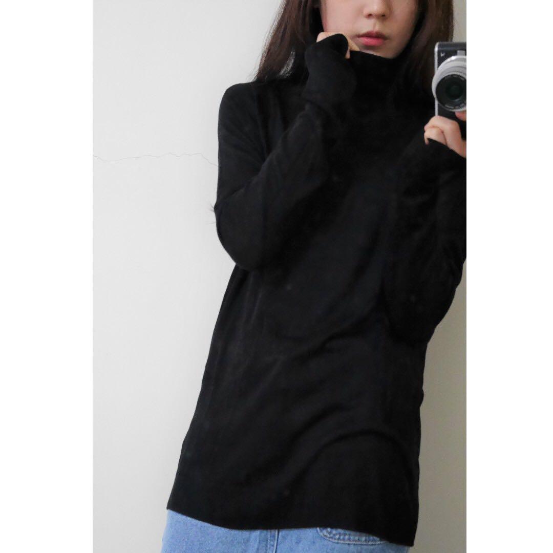 H&M 高領黑薄針織下側開岔長版上衣 m