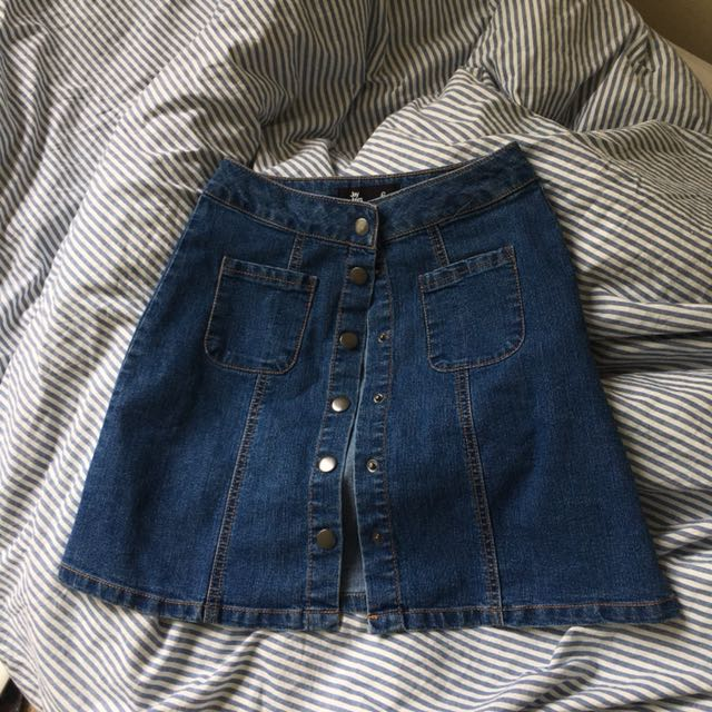 JAY JAYS A LINE DENIM BUTTON SKIRT