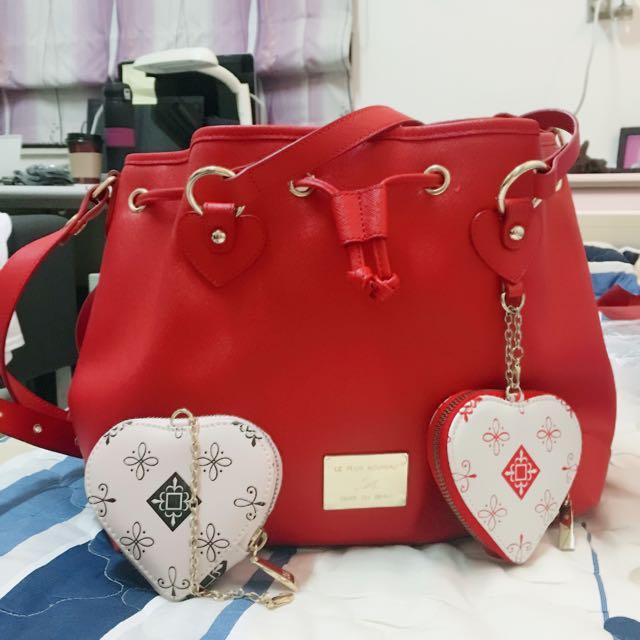 Kinaz紅色包包加贈零錢包