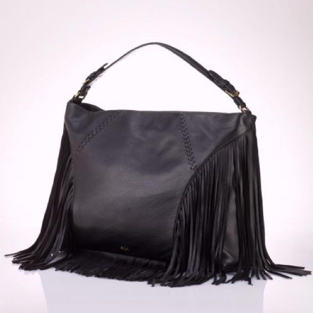 Lauren Ralph Lauren Leather Fringe Handbag Purse