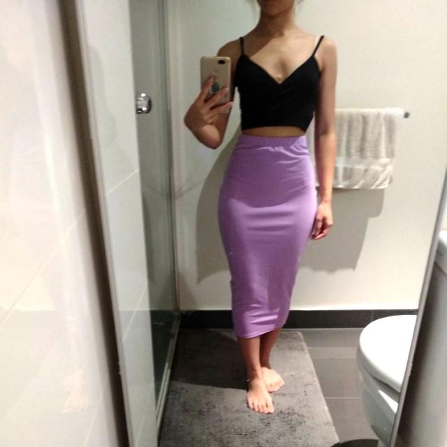 Lilac midi skirt