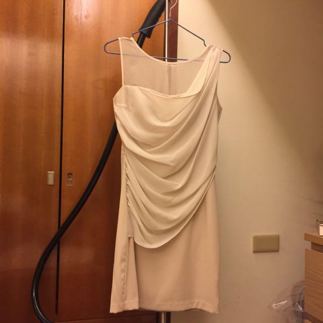 全新Mazuma 氣質粉膚色洋裝