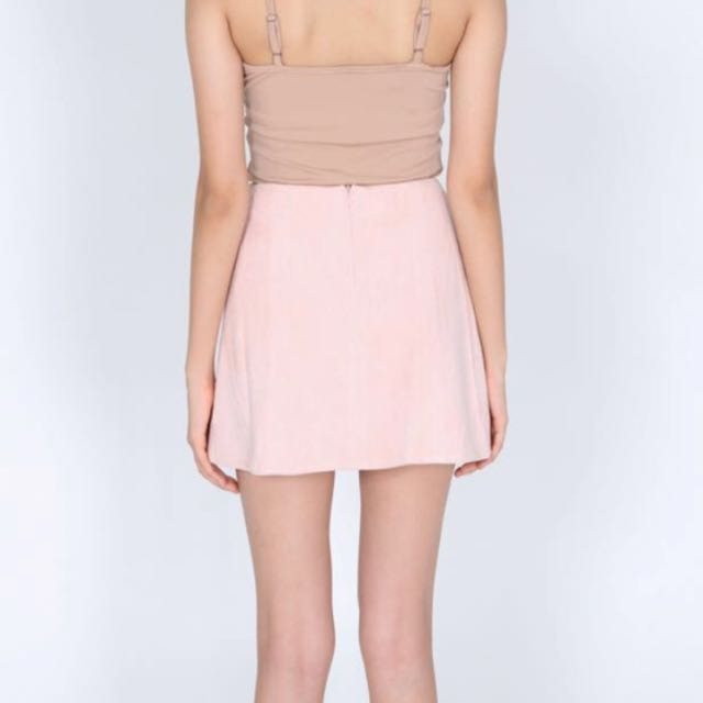 d8d726c93ac MDS Pink Button Down Suede Skirt