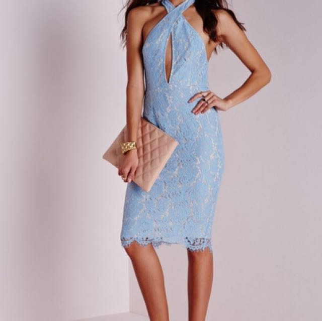 Missguided Lace Halter Midi Dress in Blue